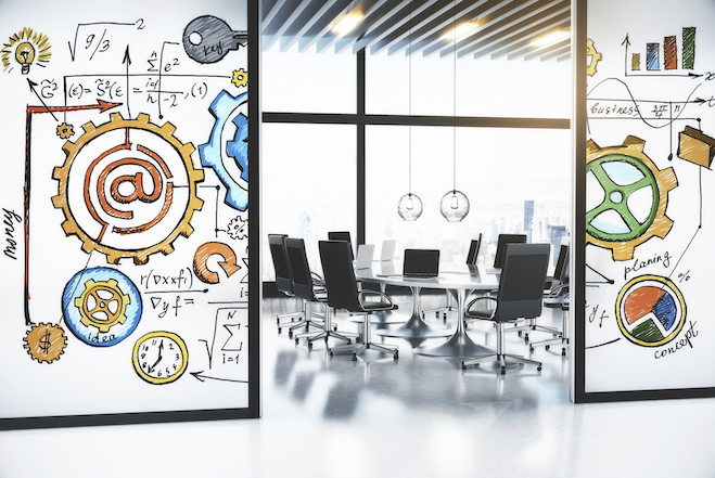 Modern conference room with the concept of business development strategy on the walls